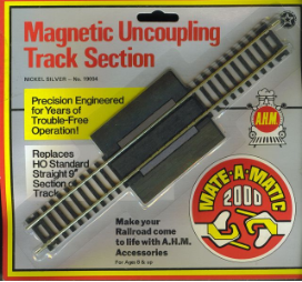 "HO Magnetic Uncoupling 9"" Track Section - Nickel Silver"