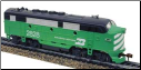 HO F3-A Burlington Northern DC Diesel Locomotive