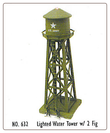 N SCALE US ARMY LIGHTED WATER TOWER